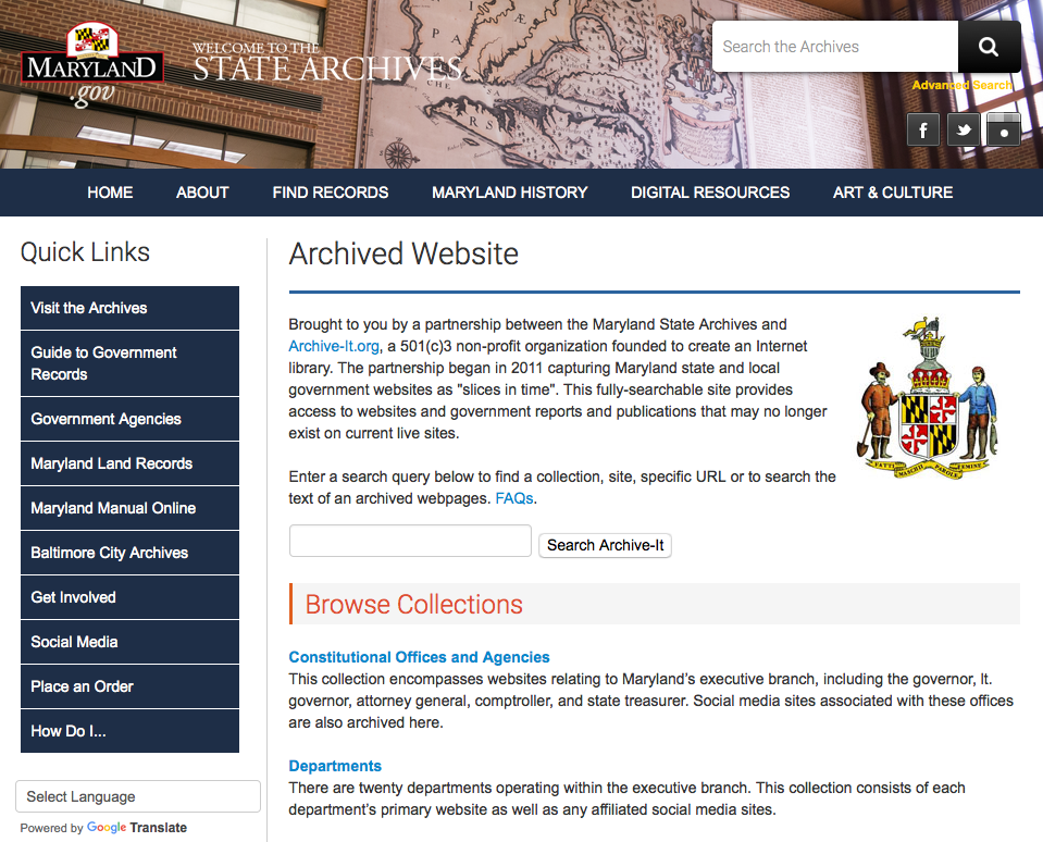 Maryland State Government Website Archive