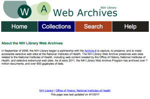 NIH Web Archive portal