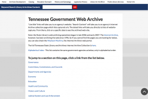 Tennessee Govnerment Web Archive