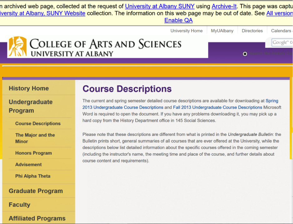 Archived course descriptions