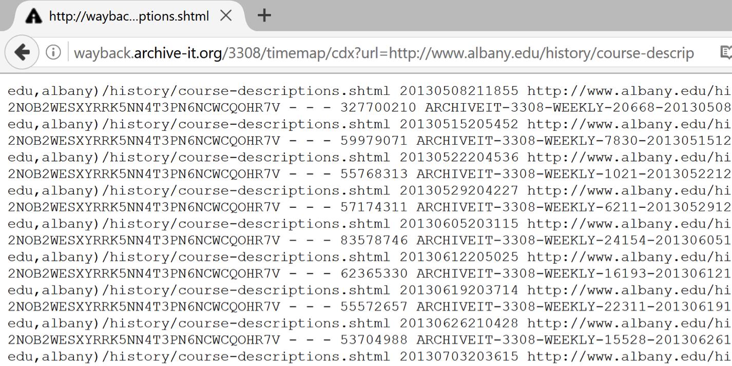 Archive-It CDX API
