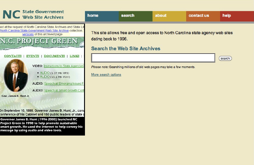 Homepage of the NC State Government Web Site Archives