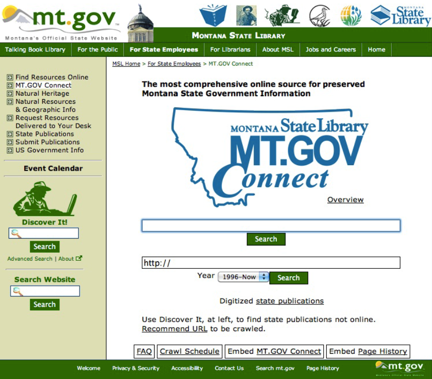 Montana State Library home page