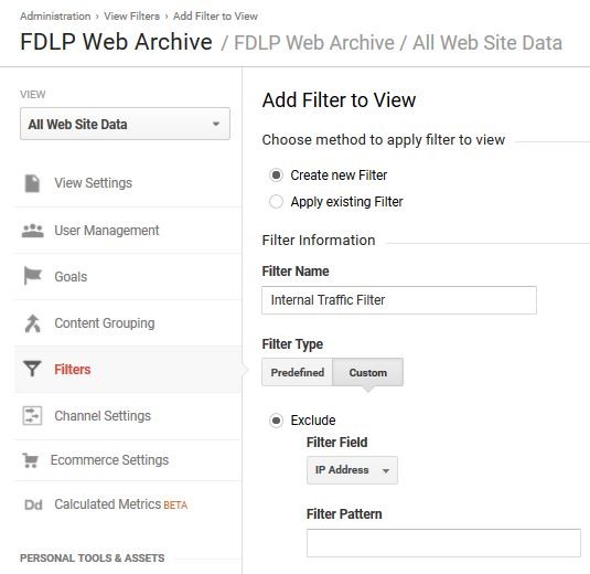Internal traffic filters in Google Analytics
