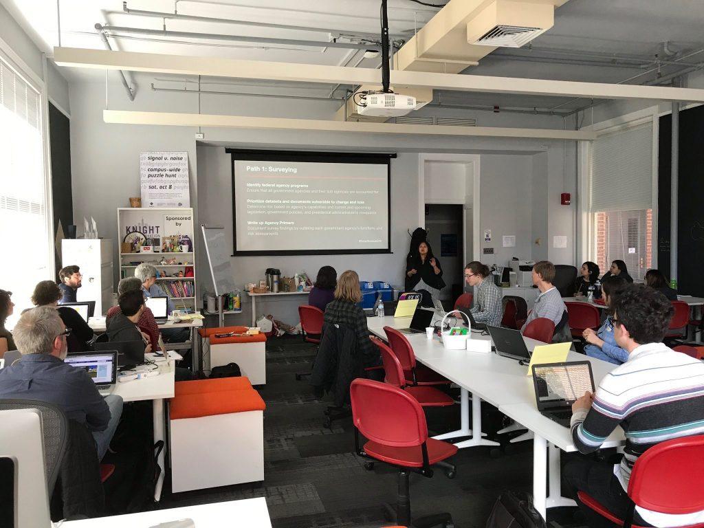 Photo of the #DataRescueChicago event at Northwestern University's Knight Lab