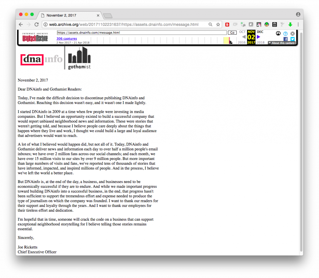 Screenshot of Gothamist/DNAInfo in the Wayback Machine on November 2, 2017