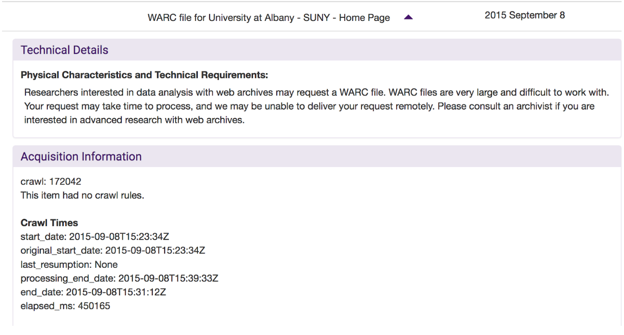 Description of a web archive by University at Albany SUNY using the partner data API