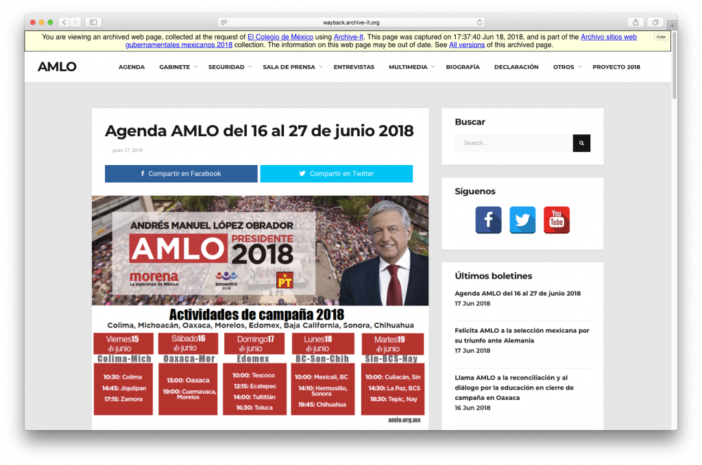 Screenshot of the archived presidential candidacy website of Andrés Manuel López Obrador