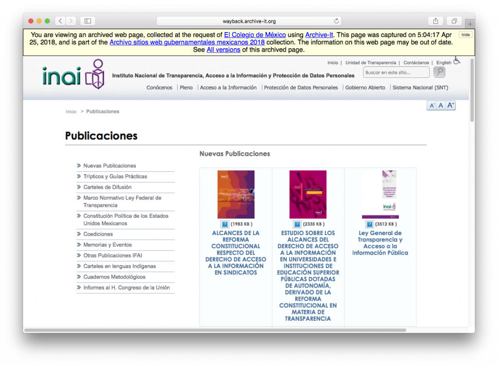 Screenshot of the archived website of the Instituto Nacional de Acceso a la Información (INAI)