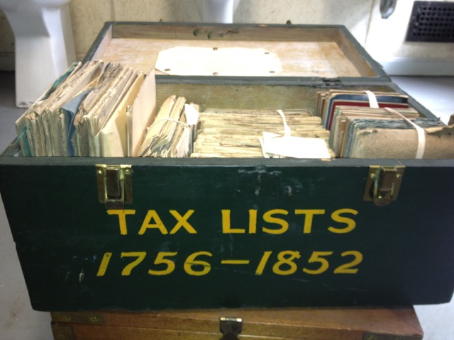 Photo of Tax Lists box, 1756-1852, from the Westborugh Town Clerk's office.