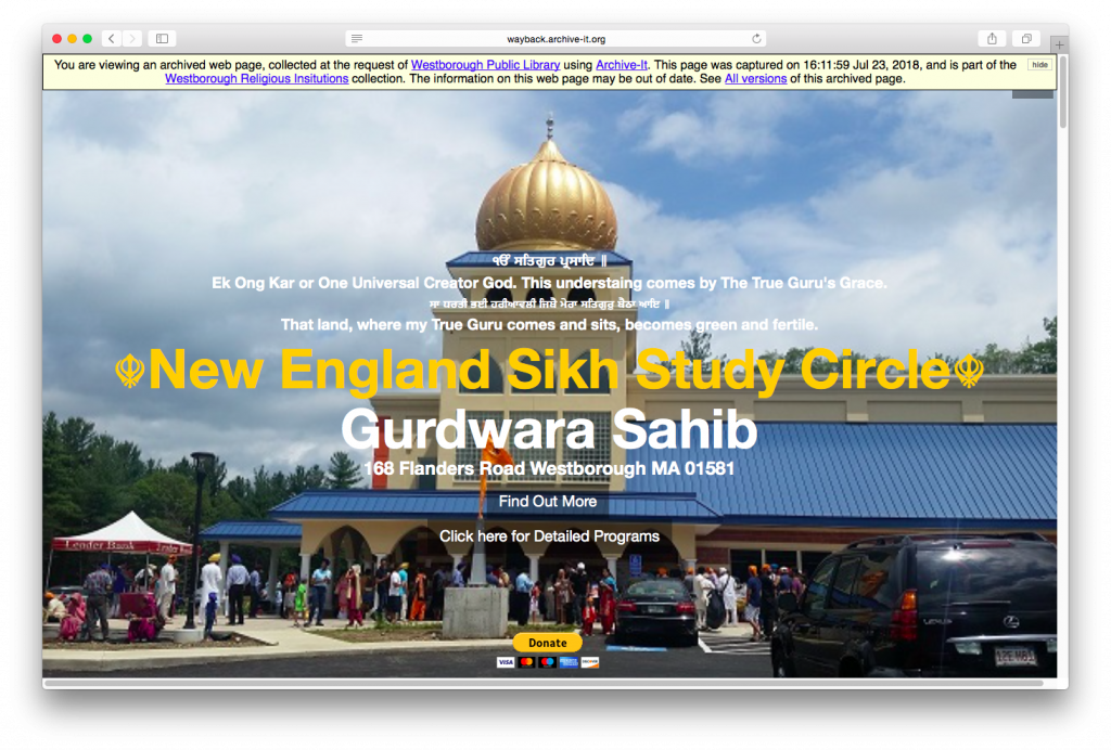 Screenshot of archived Westborough Gurdwara Sahib website