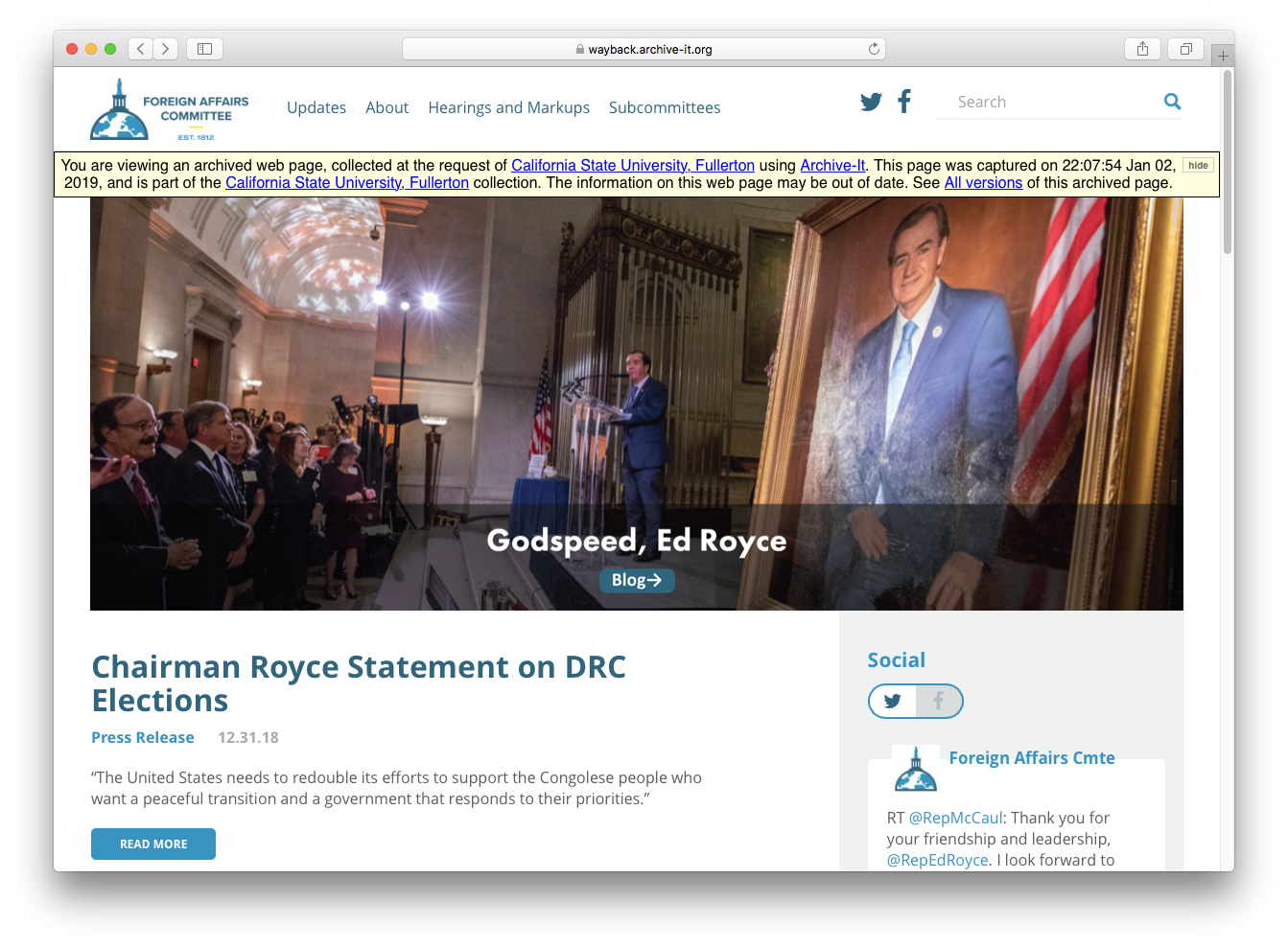 Screenshot of HFAC home page archived on January 2, 2019