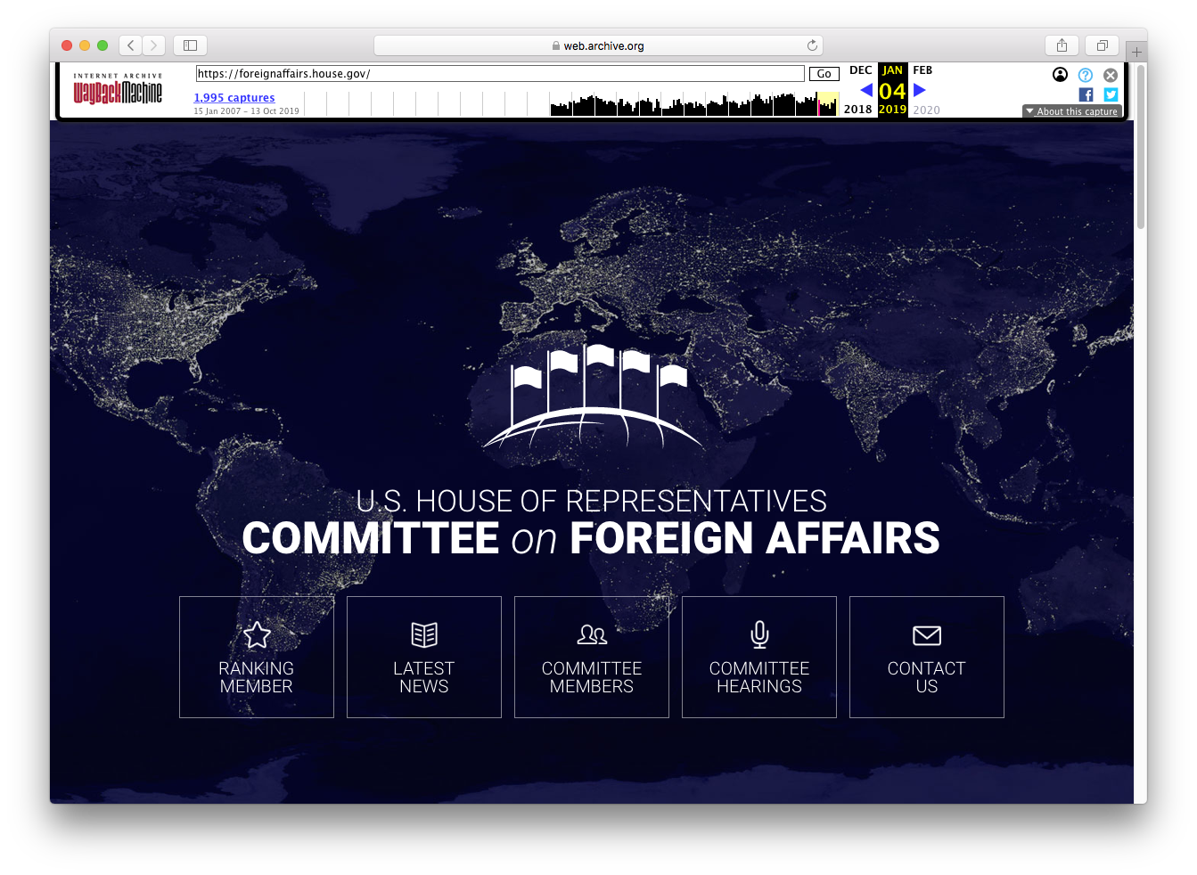 Screenshot of HFAC home page archived on January 4, 2019