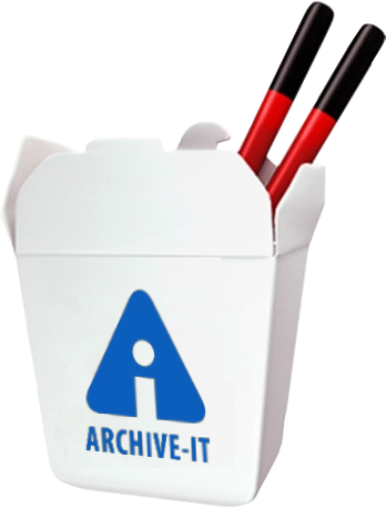 Illustration of Archive-It as a to-go container