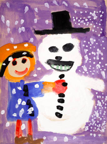Child's painting of making a snowman
