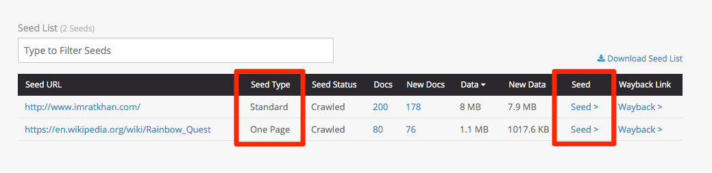 Screenshot of new seed information available in Archive-It 7.0 crawl reports