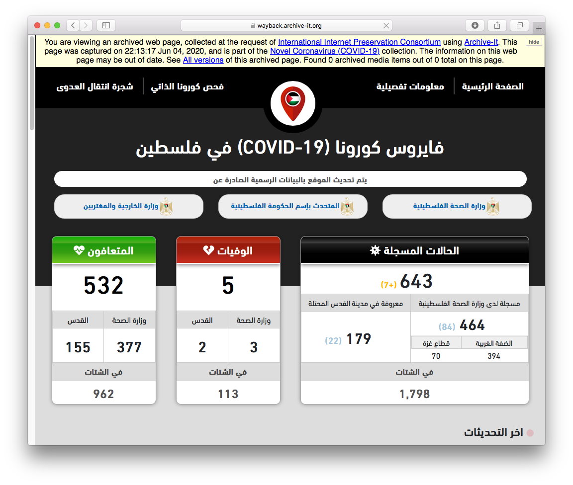 Screenshot of the IIPC's June capture of COVID-19 data reported from Palestine