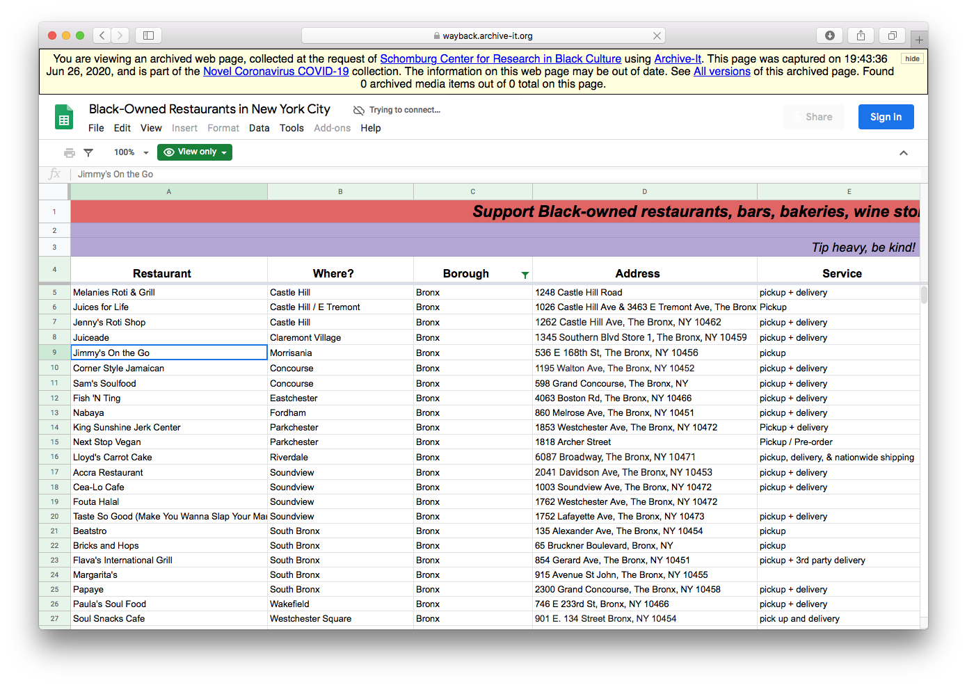 Screenshot of the Schomburg Center's June capture of a Google sheet for Black-owned food services