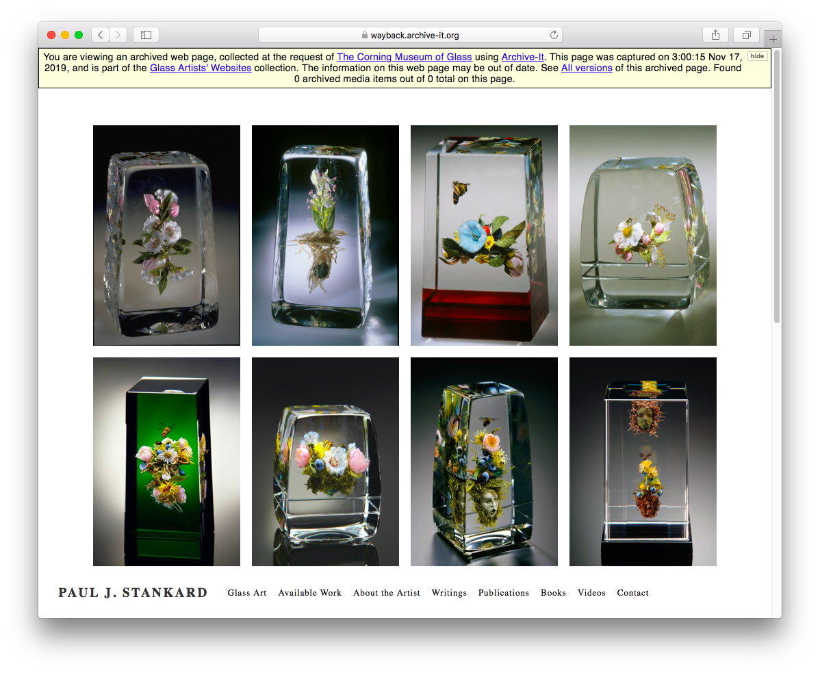 Screenshot from the Corning Museum of Glass's web archive collection of glass artists' sites
