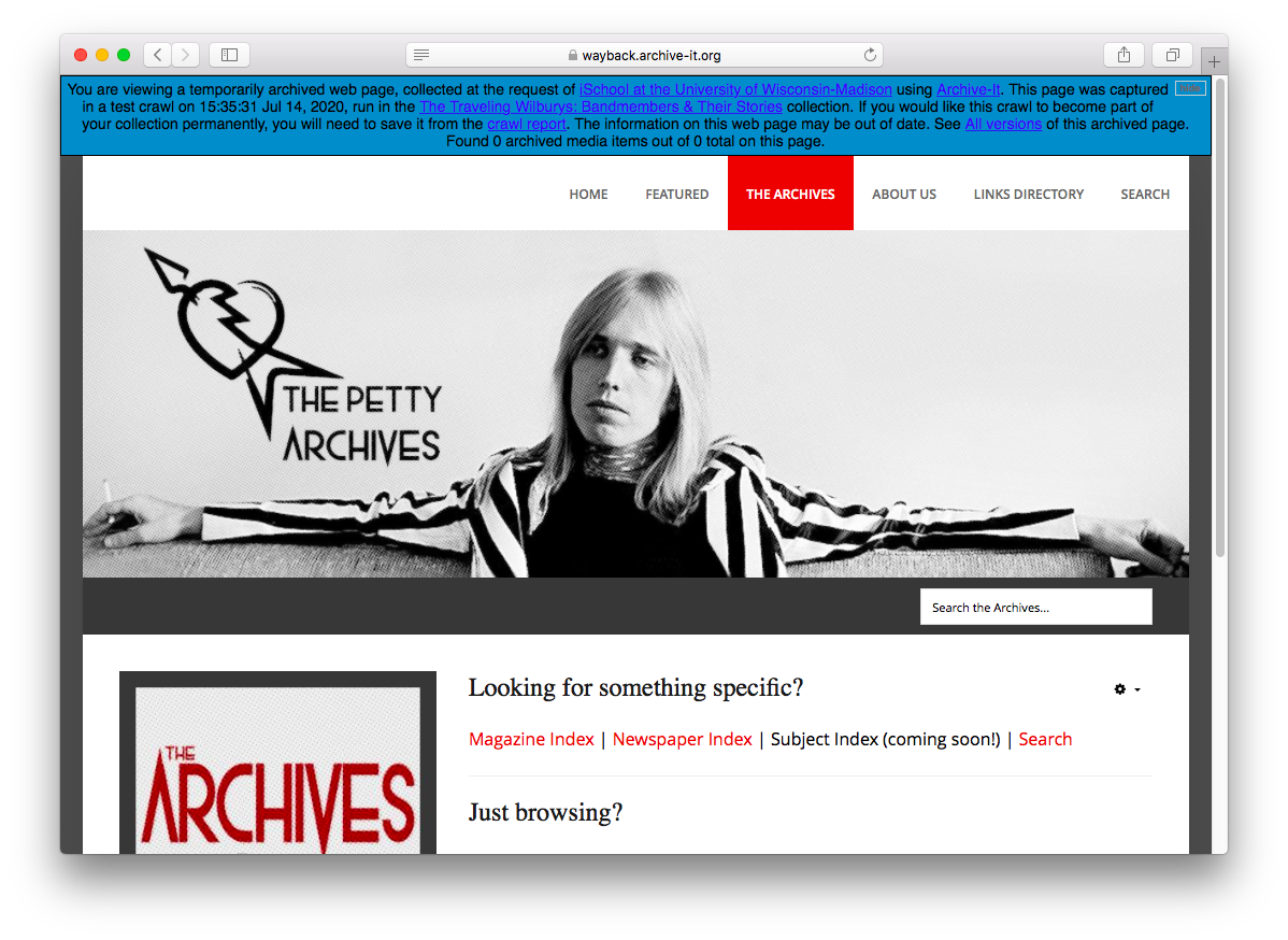 Screenshot from Joe Schill's Traveling Wilburys web archive