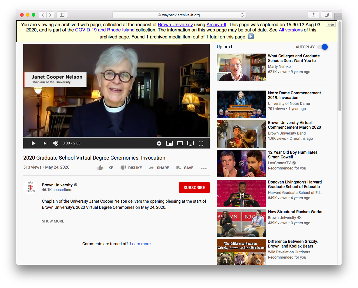 Screenshot of an archived video playing on an archived YouTube page