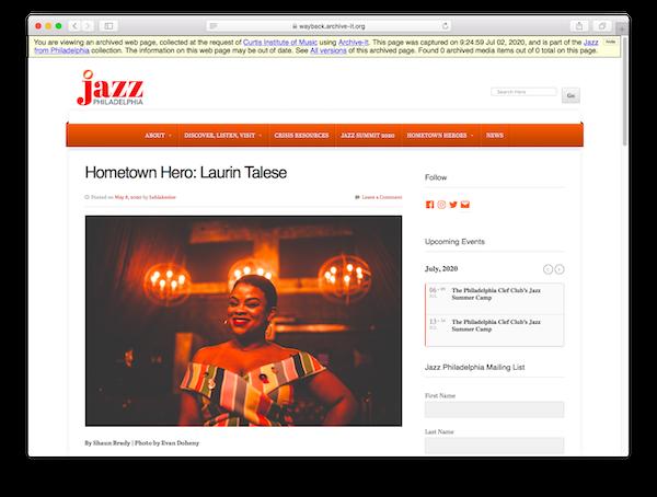Capture of Jazz Philadelphia's Hometown Heroes series, Laurin Talese