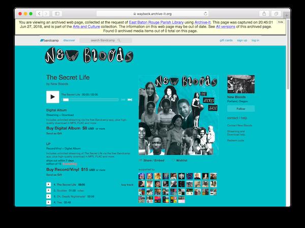 Capture of New Bloods' Bandcamp website.