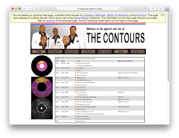 Capture of The Contours Official Website