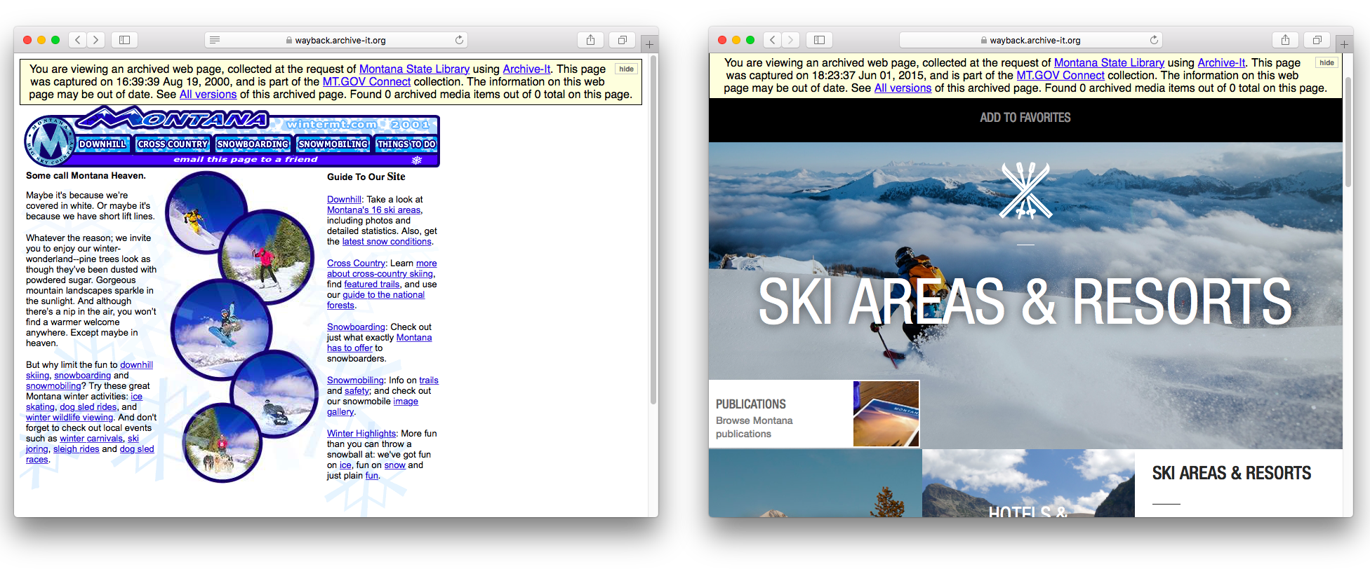 Screenshots of the Montana Department of Tourism website captures from 2000 and 2015
