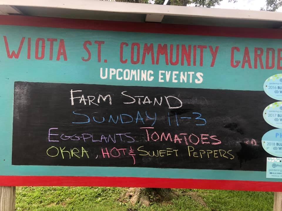 Photograph of Wiota Street Community Garden events calendar