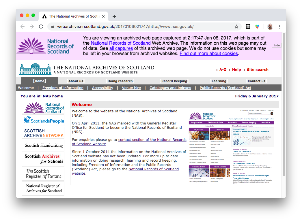 Screenshot of the National Records of Scotland's archived website