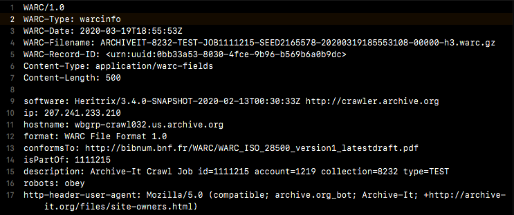 Screenshot of the warcinfo record at the beginning of a WARC file