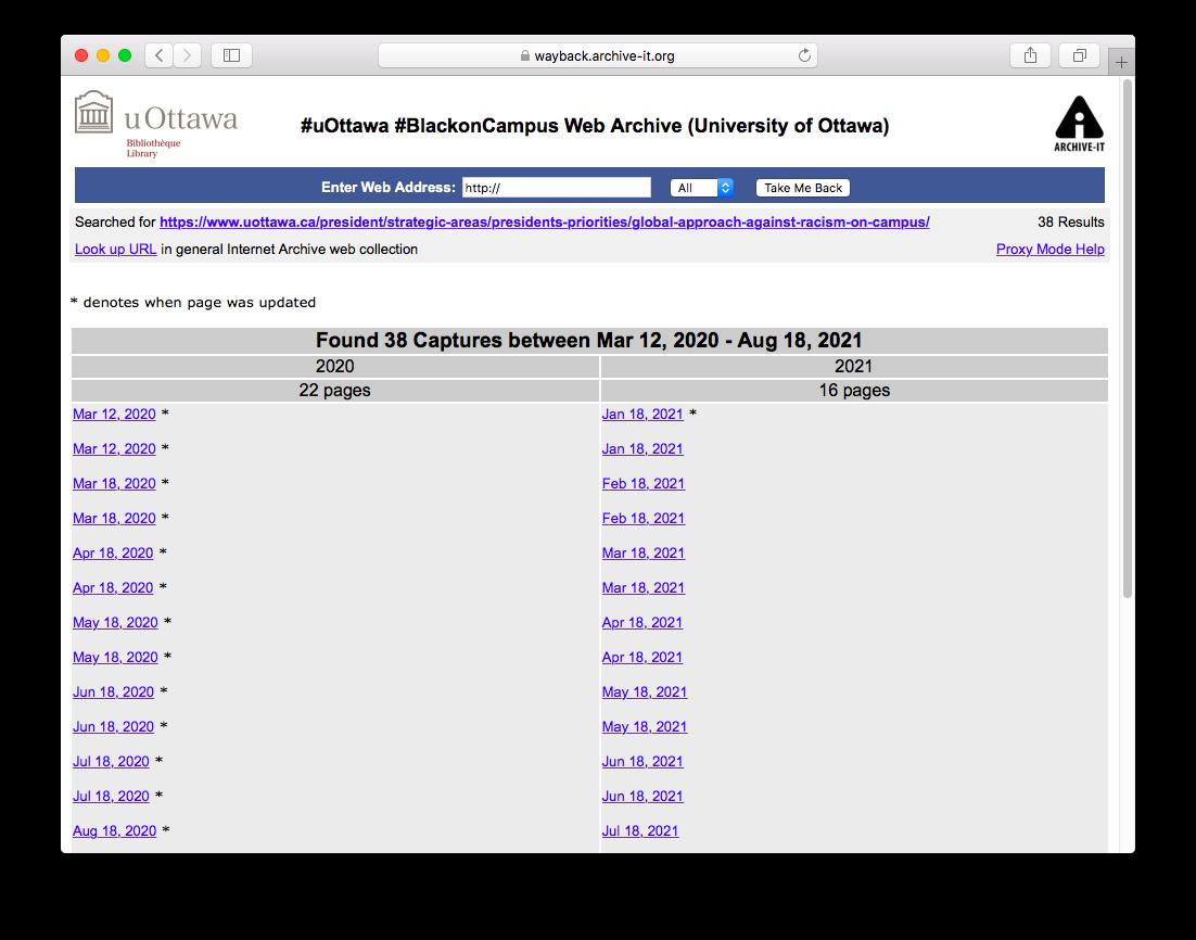Screenshot of one #uOttawa #BlackOnCampus seed's capture calendar