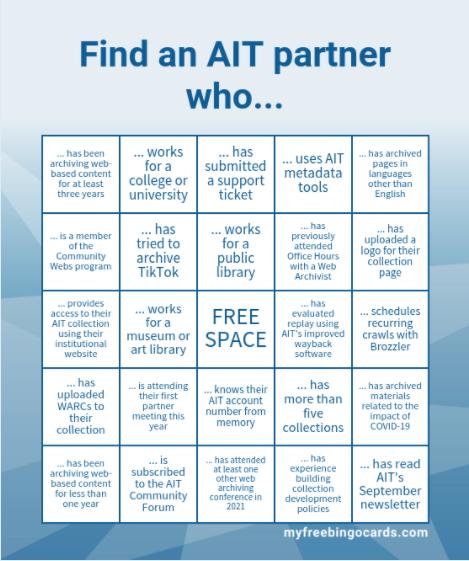 An Archive-It Partner Bingo card