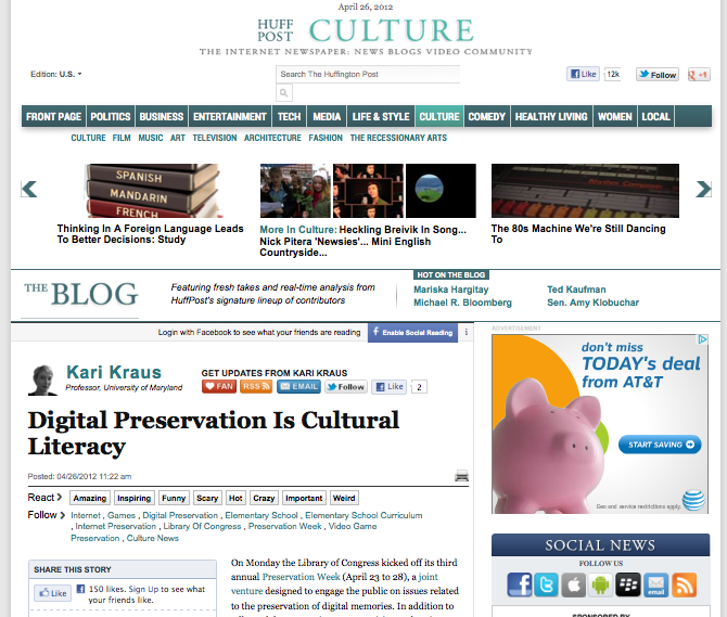 Digital Preservation Is Cultural Literacy