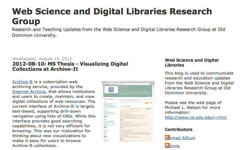 MS Thesis - Visualizing Digital Collections at Archive-It