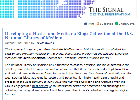 Developing a Health and Medicine Blogs Collection at the U.S. National Library of Medicine