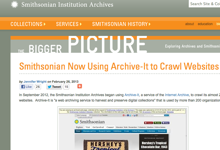 Smithsonian Now Using Archive-It to Crawl Websites